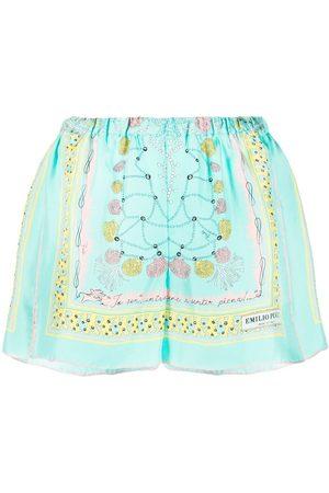 Emilio Pucci Shorts de seda con estampado de conchas de mar