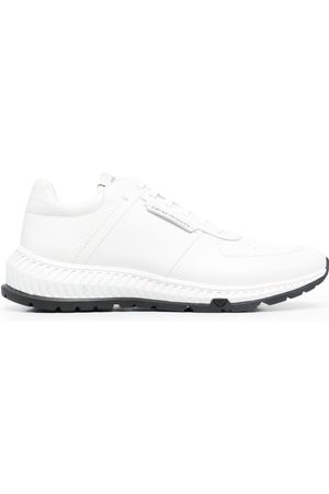 Emporio Armani Leather-panel lace-up trainers