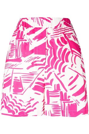 Msgm Abstract-pattern high-rise shorts
