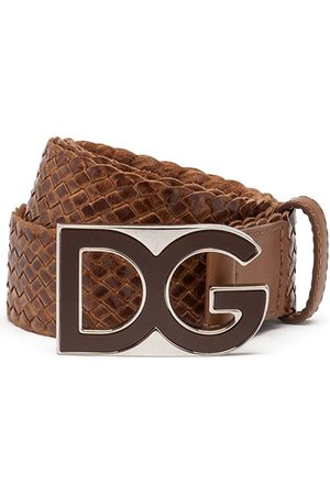 Dolce & Gabbana Cinturón entretejido con placa del logo