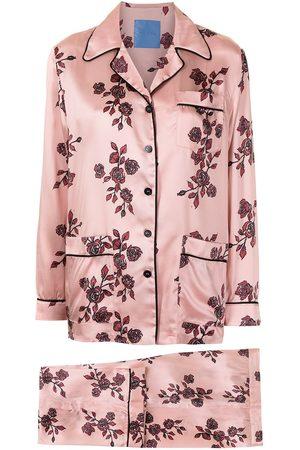 Macgraw Pijama de seda con rosas estampadas