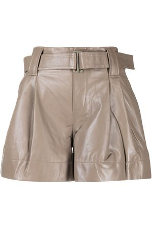 Ganni Belted pleat-detail shorts