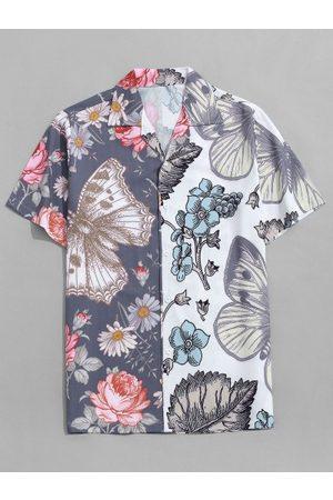 Zaful Hombre Manga corta - Butterfly and Flower Print Vacation Shirt