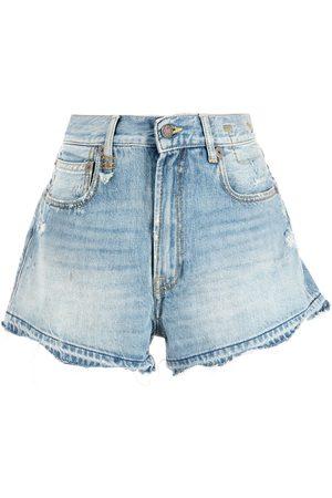 R13 Shorts de mezclilla con efecto degradado
