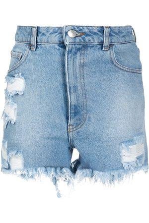 GCDS Shorts de mezclilla con detalles rasgados