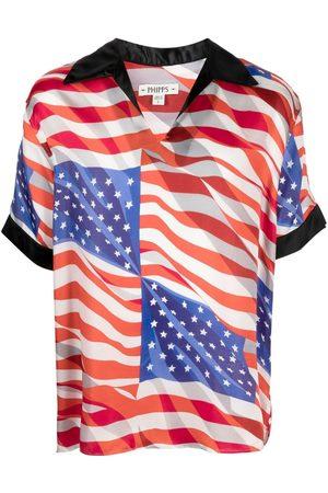 Phipps Playera tipo polo con motivo de bandera de Estados Unidos