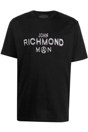 John Richmond Playera con logo de lentejuelas