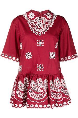 RED Valentino Blusa con bordado inglés