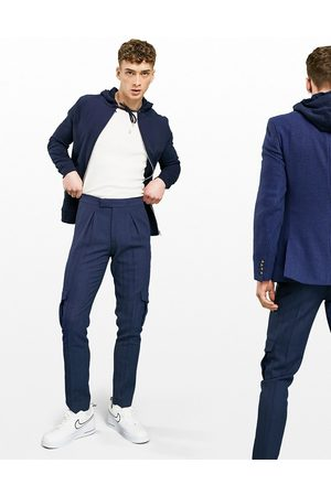 ASOS Skinny cargo wool mix smart trouser in navy herringbone