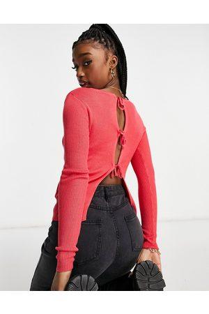 Threadbare Kaylee tie back ribbed jumper in pink