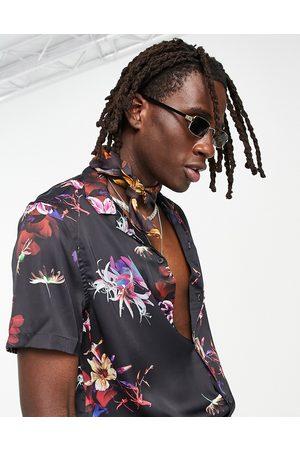 ASOS Relaxed revere black based floral satin shirt