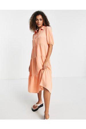 New Look Tiered hem midi dress in coral