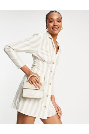 ASOS Linen button through tux mini dress in natural stripe