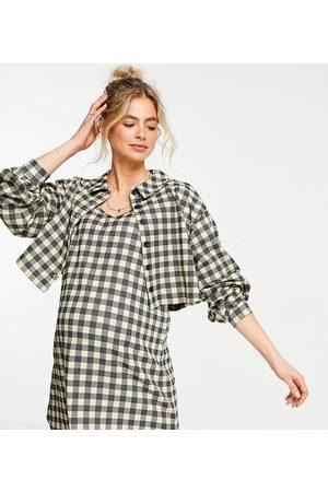 ASOS ASOS DESIGN Maternity long sleeve mini shirt dress with overlayer in check print
