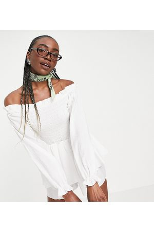 Missguided Bardot shirred playsuit with frill detail in white