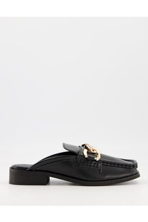 Truffle Collection Loafer mules with chain detail in black