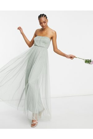ANAYA Mujer Vestidos de noche - With Love Bridesmaid tulle bandeau maxi dress in sage
