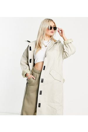 ASOS Petite hooded trench coat in stone