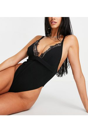 Wolf & Whistle Fuller Bust Exclusive lace plunge swimsuit in black
