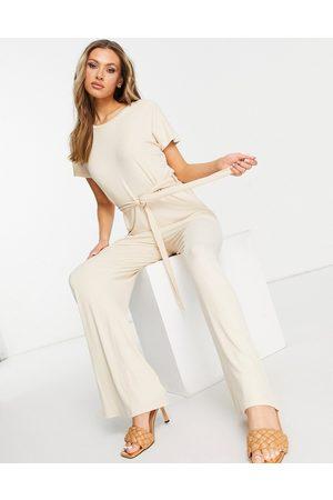 Pretty Lavish Claudia tie waist jumpsuit in cream