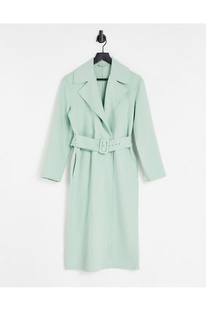 & Other Stories Wool belted longline coat in light green