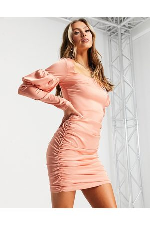 NaaNaa Square neck satin bodycon dress in rose gold