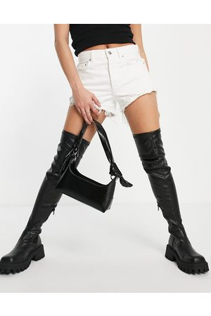 ASOS Kassidy chunky square toe over the knee boots in black