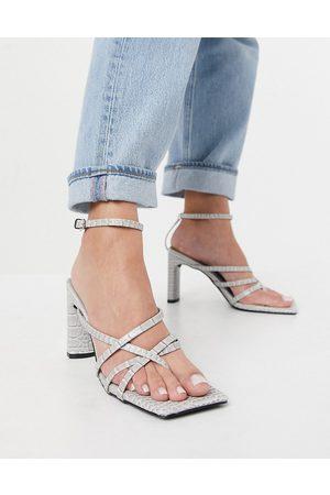 Public Desire Charms block heeled sandals in grey croc