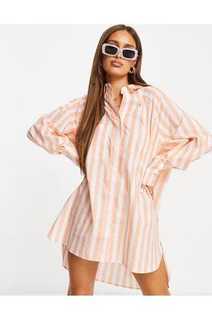 Threadbare Oversized balloon sleeve shirt dress in peach stripe