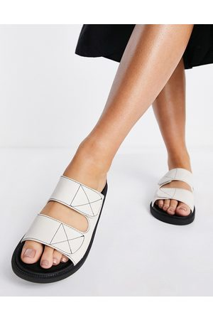 London Rebel Mujer Planas - Double strap chunky sliders in off