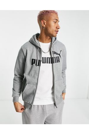 PUMA Essentials large logo zip hoodie in grey