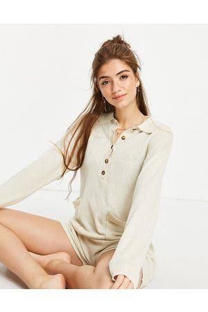 Monki Aja recycled knitted lounge playsuit in camel