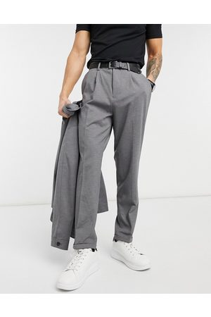 SELECTED Jersey suit trousers in tapered crop fit grey