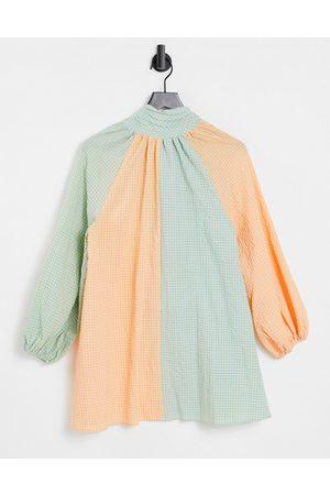 Lost Ink High neck smock dress in gingham panels