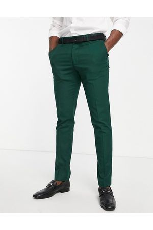 ASOS Wedding skinny suit trousers in micro texture in forest green
