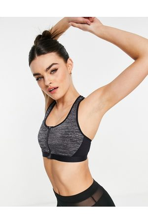 Dorina Harlem non padded high impact sports bra with zip front detail in grey marl
