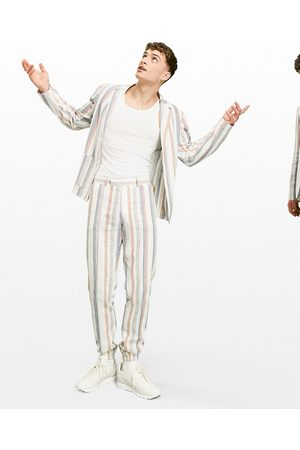 ASOS Soft tailored linen slim suit jacket with multi stripe in white and blue