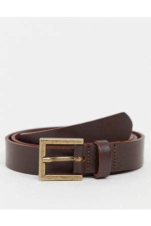ASOS Hombre Cinturones - Leather skinny belt in brown with gold buckle