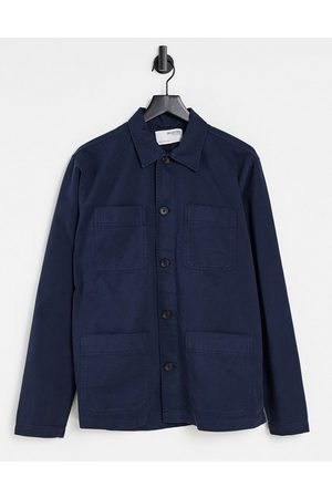SELECTED Overshirt with four pockets in washed navy