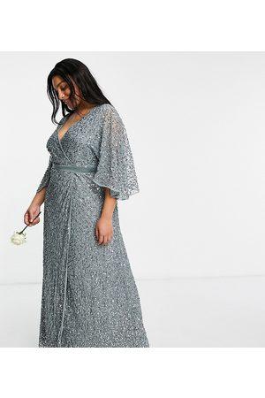 Maya Mujer Vestidos de noche - Bridesmaid delicate sequin wrap maxi dress in misty green