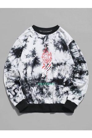 Zaful Skeleton Hand Rose Print Tie Dye Sweatshirt