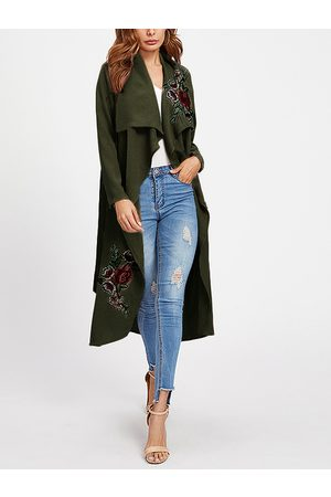 YOINS Mujer Gabardinas - Embroidered Lapel Collar Long Sleeves Trench Coat With Belt