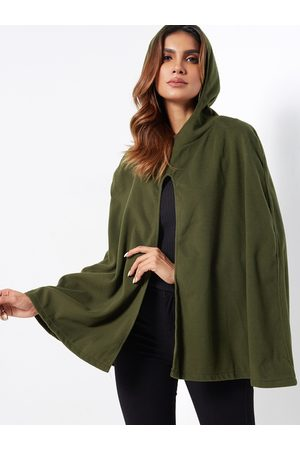 YOINS Army Green Hooded Design Open Front Cape