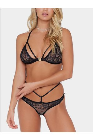 YOINS Sexy Strappy Sheer Floral Lace Lingerie Set