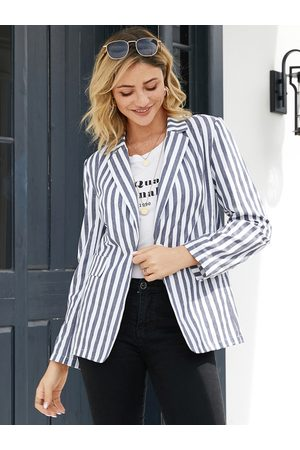 YOINS Mujer Sacos - White Striped Notch Collar Long Sleeves Blazer