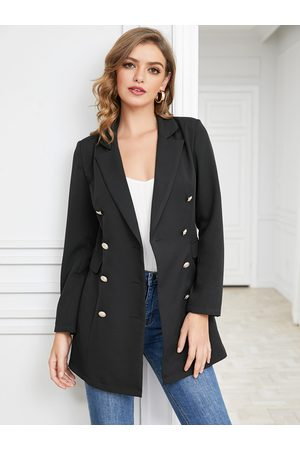 YOINS Mujer Sacos - Black Side Pockets Notch Collar Blazer