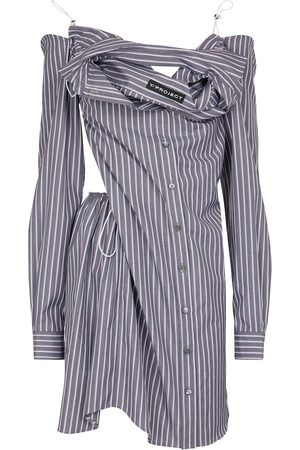 Y / PROJECT Striped cotton shirt dress