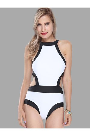 YOINS White Contrast Cut Out Swimsuit