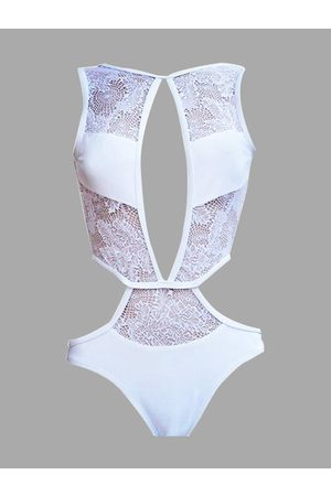 Yoins Lace Insert Cut Out Swimsuit in