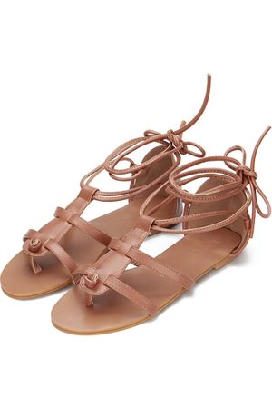 Yoins Mujer Con hebilla - Leather Look Lace-up Gladiator Flat Sandals